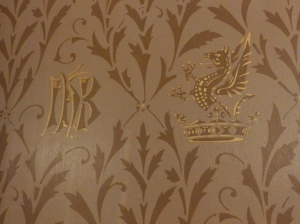 Cliffe Castle, detail of wallpaper with Butterfield 'B' and Griffin